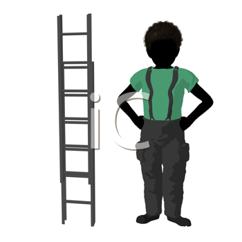 Royalty Free Clipart Image of a Boy Beside a Ladder