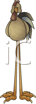 Royalty Free Clipart Image of a Rooster With Long Legs