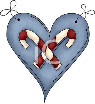 Royalty Free Clipart Image of a Candy Cane Heart