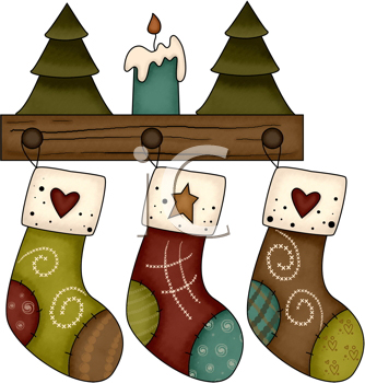 Royalty Free Clipart Image of Three Christmas Stocking Hanging on a Wooden Shelf