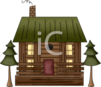 Royalty Free Clipart Image of a Log Cabin With Evergreens