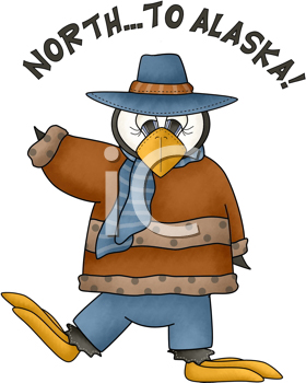 Royalty Free Clipart Image of a North to Alaska Penguin