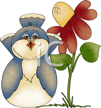 Royalty Free Clipart Image of a Bird and a Flower