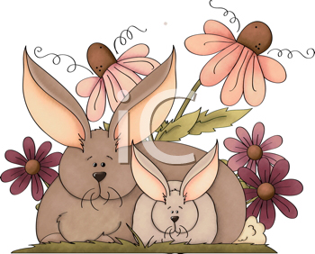 Royalty Free Clipart Image of Bunnies and Flowers