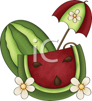 Royalty Free Clipart Image of a Watermelon and Flowers