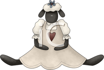 Royalty Free Clipart Image of a Sheep in a Dress