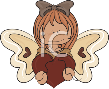Royalty Free Clipart Image of a Girl Angel With a Heart