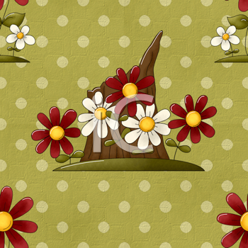 Royalty Free Clipart Image of a Tree Stump and Flowers