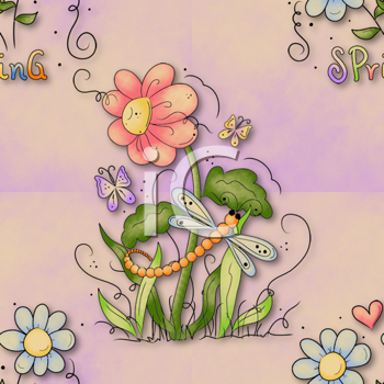 Royalty Free Clipart Image of a Spring Background With Insects and Flowers