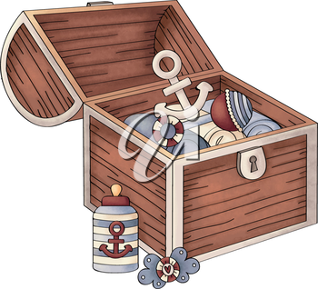 Royalty Free Clipart Image of a Chest Containing Nautical Items