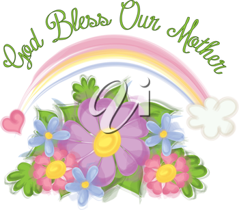 Royalty Free Clipart Image of a God Bless Our Mother Text and Flowers