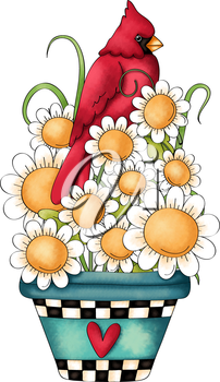 Royalty Free Clipart Image of a Cardinal Sitting in Sunflowers