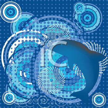 Royalty Free Clipart Image of a Dolphin Background