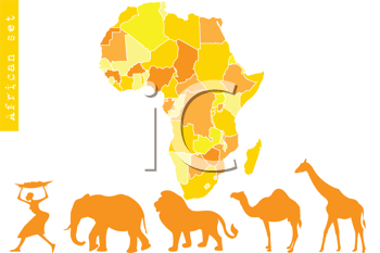 Royalty Free Clipart Image of a Map of Africa With African People and Animals Below