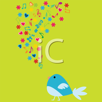 Royalty Free Clipart Image of a Baby Boy Announcement With a Singing Bird