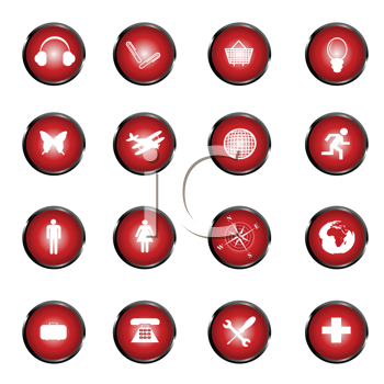 Royalty Free Clipart Image of a Set of Red Web Buttons