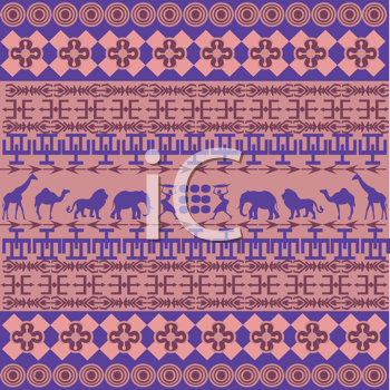 Royalty Free Clipart Image of a Pink and Purple African Inspired Background