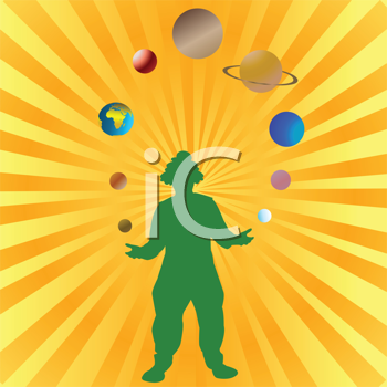 Clown playing with planets from Solar System