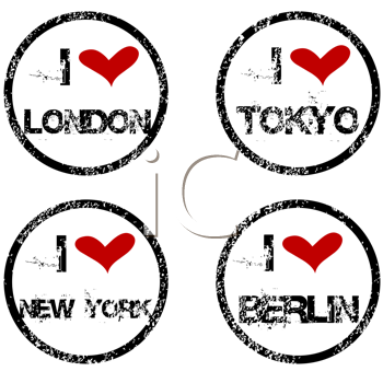 Stamps with I love big cities