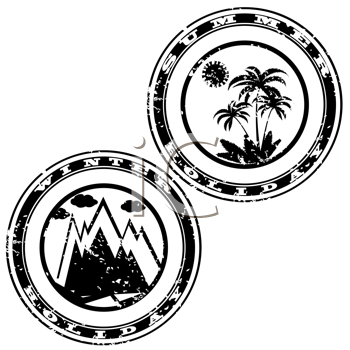 Royalty Free Clipart Image of Two Rubber Stamps
