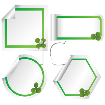 Royalty Free Clipart Image of Four Stickers With Shamrocks in the Corner