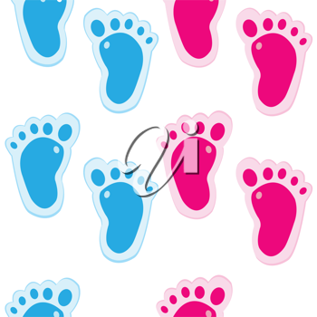 Baby foot steps background, seamless pattern