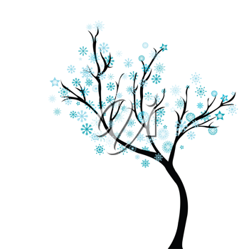 Winter tree with snowflakes