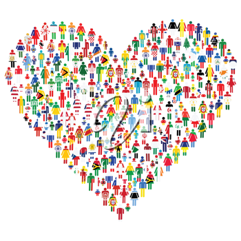 Love concept; heart made of people. People are made of all flags from the World.