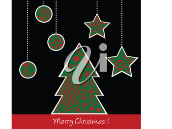 Christmas card with stylized tree