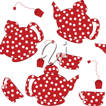 Seamless with dotted kettles, tea cups and tea bags
