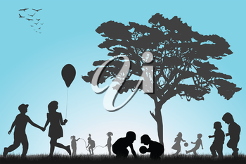 Silhouettes of children playing outside