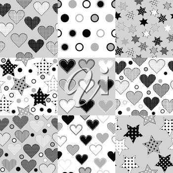 Set of black and white seamless background patterns with stars, hearts and dots