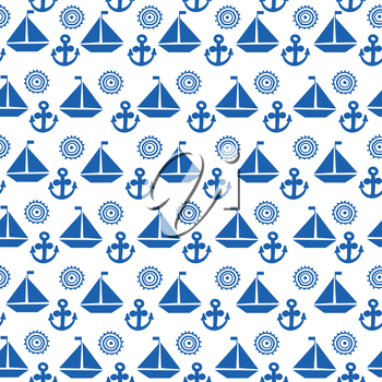 Cartoon seamless pattern with sail boats, anchors and stylized sun, background for boy kids
