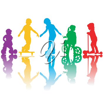 Colored silhouettes of active kids playing