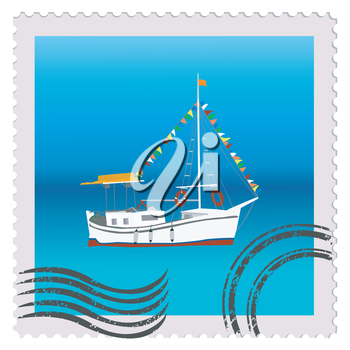Illustration of a postage stamp with sailing ship with colorful bunting strung across the masts