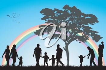 Gay and lesbian couples and family with children over an rainboww background