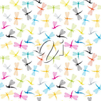 Background with cartoon dragonflies
