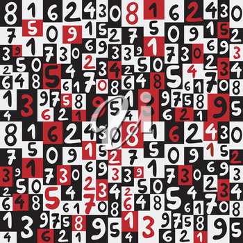 Background with hand drawing numbers