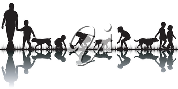 I love animals concept with silhouettes of people and animals