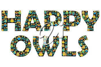 Happy owls typography with floral and cartoon owls letters