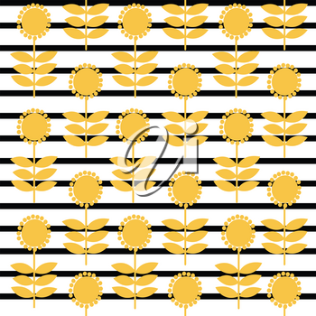 Vintage pattern with stylized sunflowers on striped background