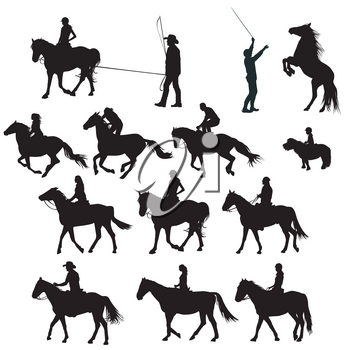 Silhouettes of horse riders in training