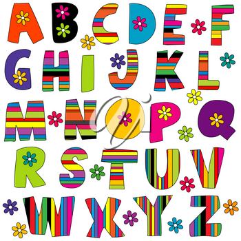 Cute colorful  English alphabet with flowers and stripes