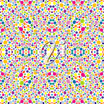 Abstract pattern with colored dots on white background