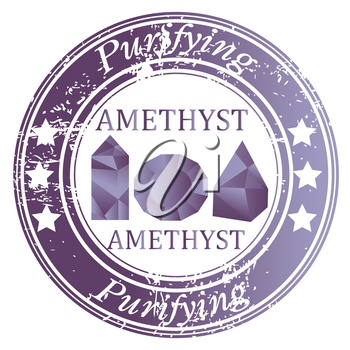 Rubber stamp with Amethyst gems