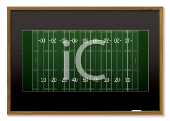 Royalty Free Clipart Image of a Football Field on a Chalkboard