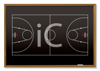 Royalty Free Clipart Image of a Basketball Court on a Blackboard
