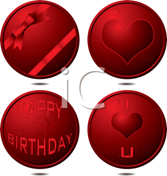Royalty Free Clipart Image of a Celebration Buttons