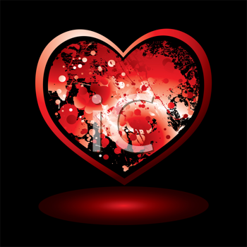 Royalty Free Clipart Image of a Heart on Black