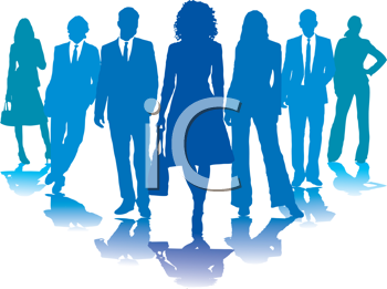 Royalty Free Clipart Image of a Group of Blue Business People